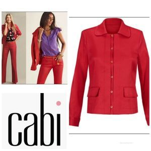 Cabi Valentine Red Linen Blend Jacket Blazer M